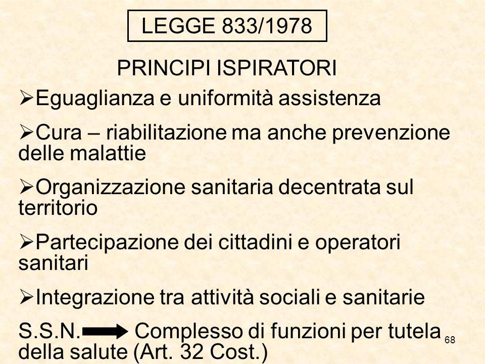 68 LEGGE 833/1978 Eguaglianza e uniformità assistenza Cura – riabilitazione ma anche prevenzione delle malattie Organizzazione sanitaria decentrata su