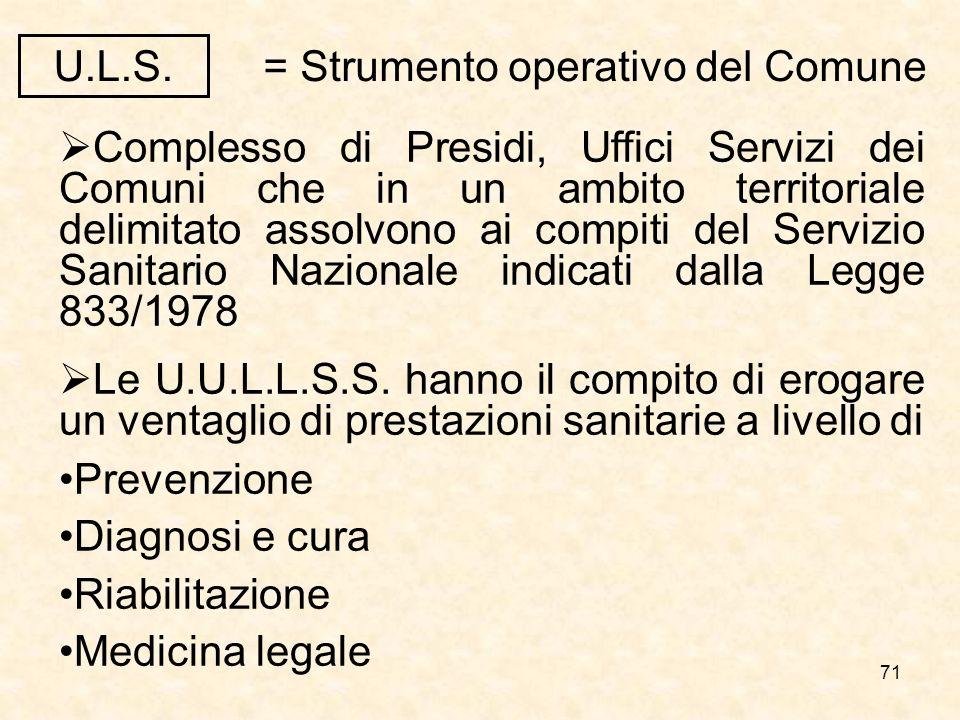 71 Complesso di Presidi, Uffici Servizi dei Comuni che in un ambito territoriale delimitato assolvono ai compiti del Servizio Sanitario Nazionale indicati dalla Legge 833/1978 Le U.U.L.L.S.S.