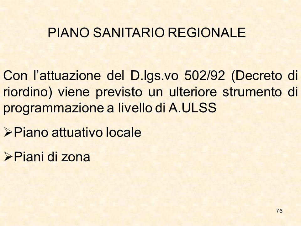 76 PIANO SANITARIO REGIONALE Con lattuazione del D.lgs.vo 502/92 (Decreto di riordino) viene previsto un ulteriore strumento di programmazione a livello di A.ULSS Piano attuativo locale Piani di zona