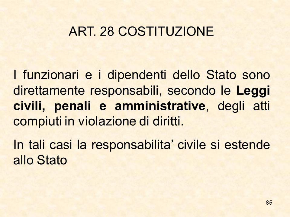 85 ART. 28 COSTITUZIONE I funzionari e i dipendenti dello Stato sono direttamente responsabili, secondo le Leggi civili, penali e amministrative, degl