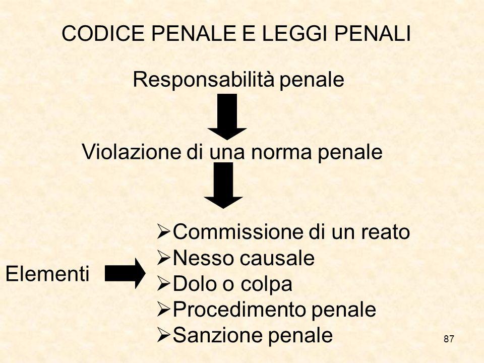 87 CODICE PENALE E LEGGI PENALI Violazione di una norma penale Responsabilità penale Elementi Commissione di un reato Nesso causale Dolo o colpa Procedimento penale Sanzione penale
