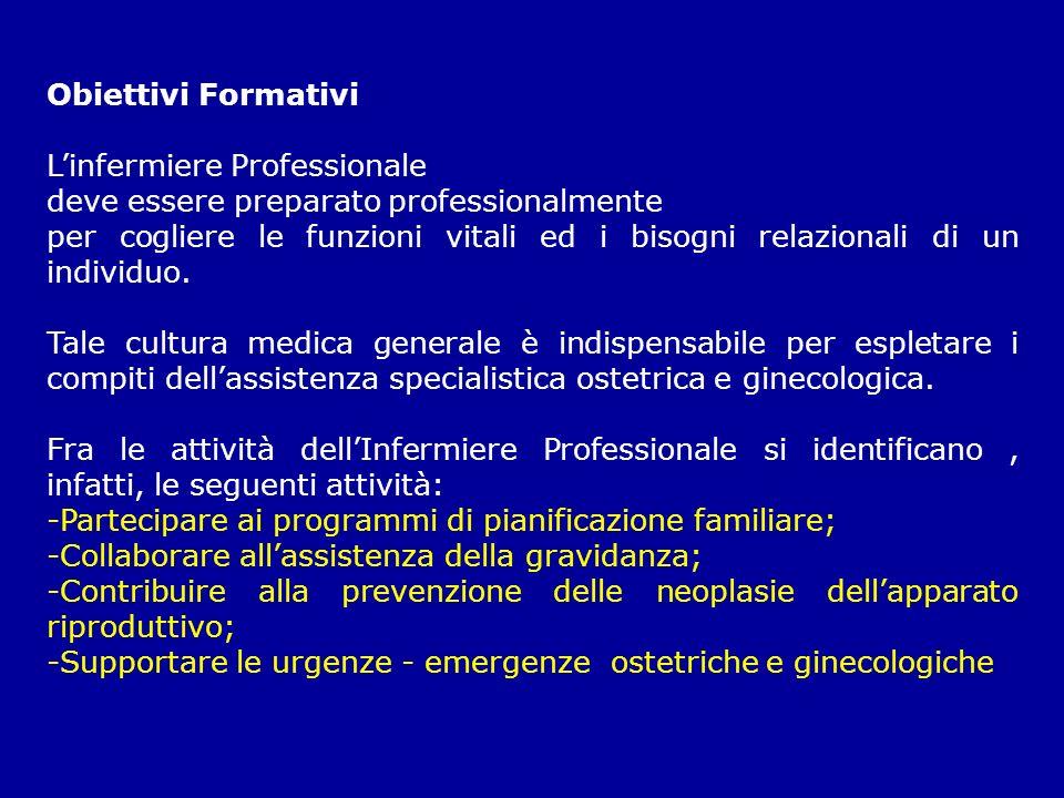 Obiettivi Formativi Linfermiere Professionale deve essere preparato professionalmente per cogliere le funzioni vitali ed i bisogni relazionali di un i