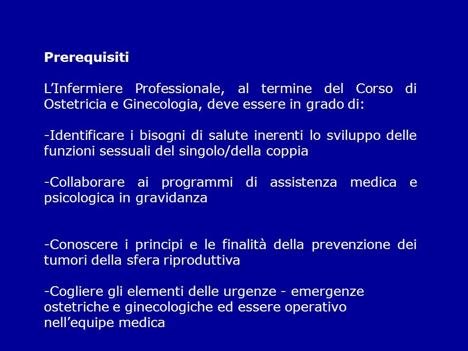 Prerequisiti LInfermiere Professionale, al termine del Corso di Ostetricia e Ginecologia, deve essere in grado di: -Identificare i bisogni di salute i
