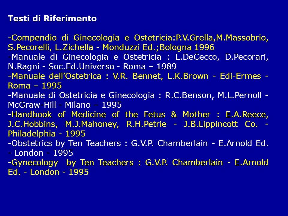 Testi di Riferimento -Compendio di Ginecologia e Ostetricia:P.V.Grella,M.Massobrio, S.Pecorelli, L.Zichella - Monduzzi Ed.;Bologna 1996 -Manuale di Gi