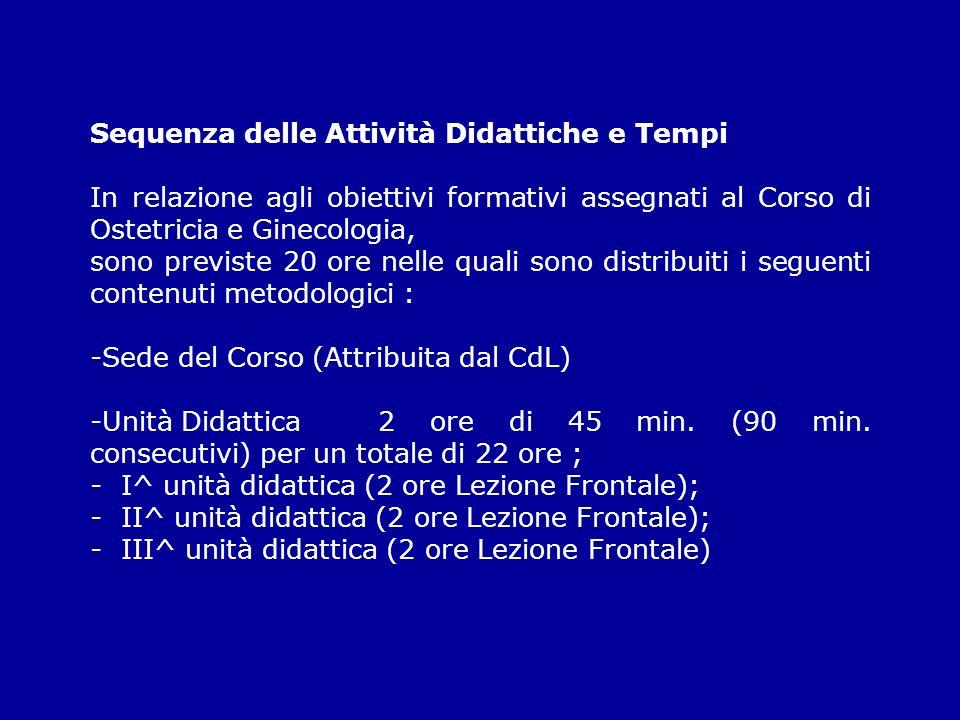 Sequenza delle Attività Didattiche e Tempi In relazione agli obiettivi formativi assegnati al Corso di Ostetricia e Ginecologia, sono previste 20 ore