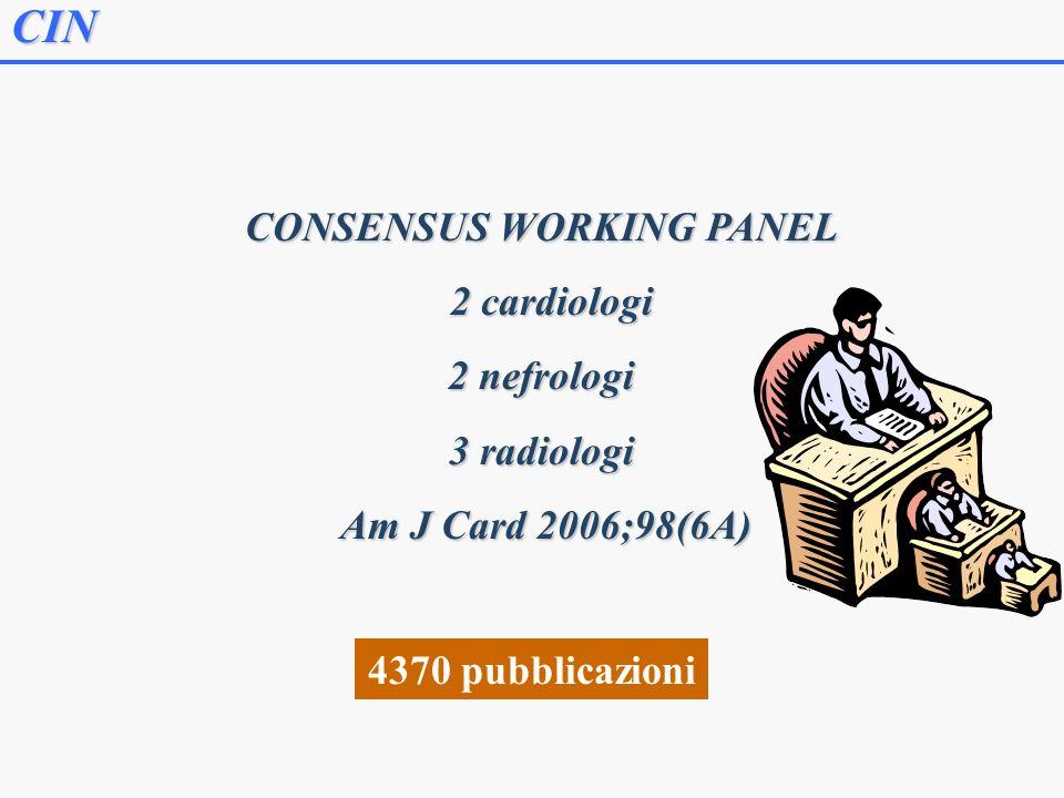 CIN CONSENSUS WORKING PANEL 2 cardiologi 2 cardiologi 2 nefrologi 3 radiologi Am J Card 2006;98(6A) Am J Card 2006;98(6A) 4370 pubblicazioni