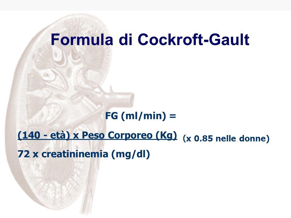 Formula di Cockroft-Gault FG (ml/min) = (140 - età) x Peso Corporeo (Kg) ( x 0.85 nelle donne) 72 x creatininemia (mg/dl)