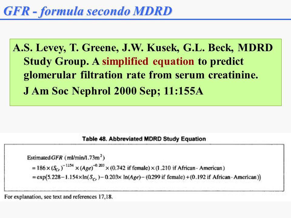 A.S.Levey, T. Greene, J.W. Kusek, G.L. Beck, MDRD Study Group.