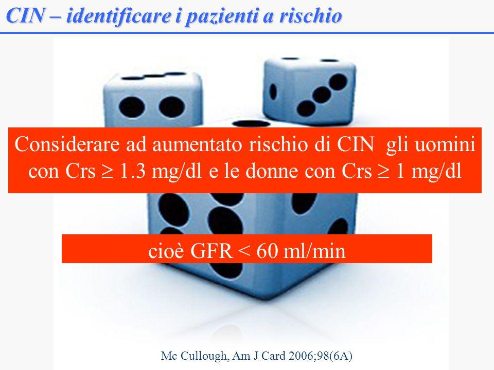 CIN – identificare i pazienti a rischio Considerare ad aumentato rischio di CIN gli uomini con Crs 1.3 mg/dl e le donne con Crs 1 mg/dl Mc Cullough, Am J Card 2006;98(6A) cioè GFR < 60 ml/min