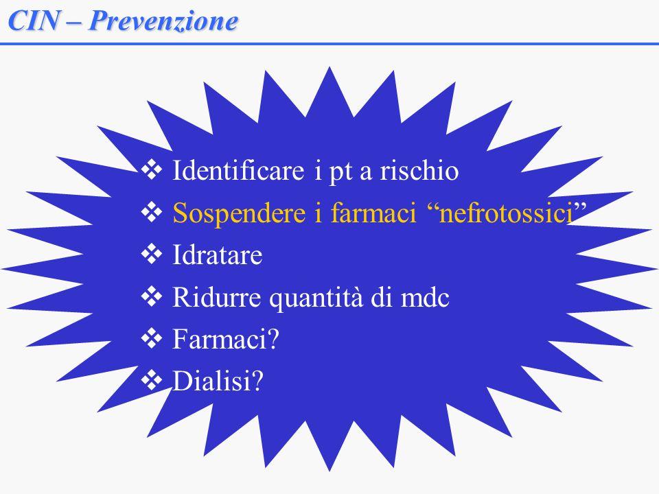 CIN – Prevenzione Identificare i pt a rischio Sospendere i farmaci nefrotossici Idratare Ridurre quantità di mdc Farmaci.