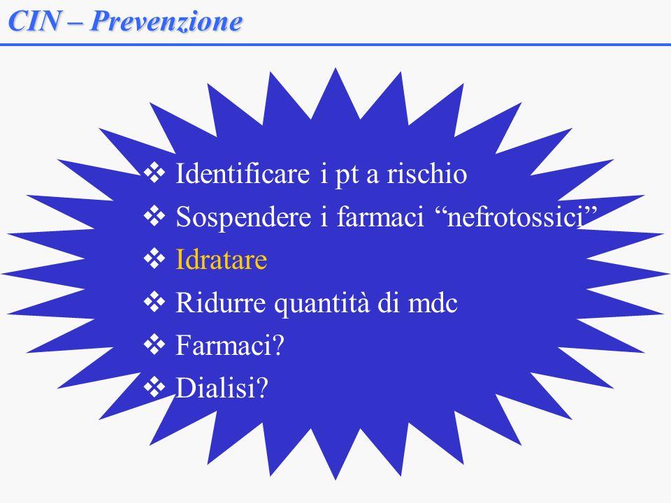 CIN – Prevenzione Identificare i pt a rischio Sospendere i farmaci nefrotossici Idratare Ridurre quantità di mdc Farmaci? Dialisi?