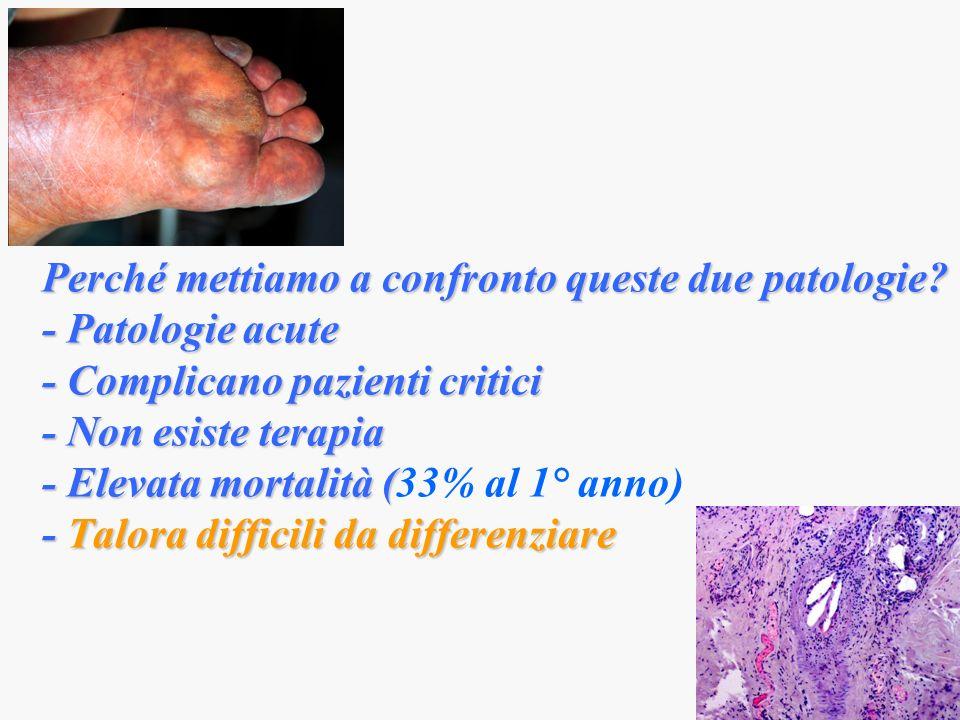 Perché mettiamo a confronto queste due patologie? - Patologie acute - Complicano pazienti critici - Non esiste terapia - Elevata mortalità ( - Talora