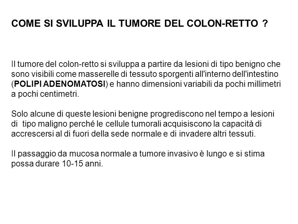COME SI SVILUPPA IL TUMORE DEL COLON-RETTO ? Il tumore del colon-retto si sviluppa a partire da lesioni di tipo benigno che sono visibili come massere