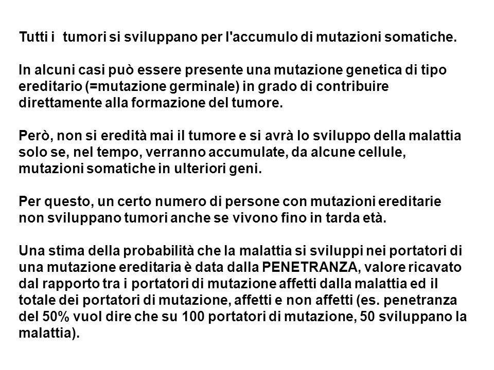 Tutti i tumori si sviluppano per l'accumulo di mutazioni somatiche. In alcuni casi può essere presente una mutazione genetica di tipo ereditario (=mut