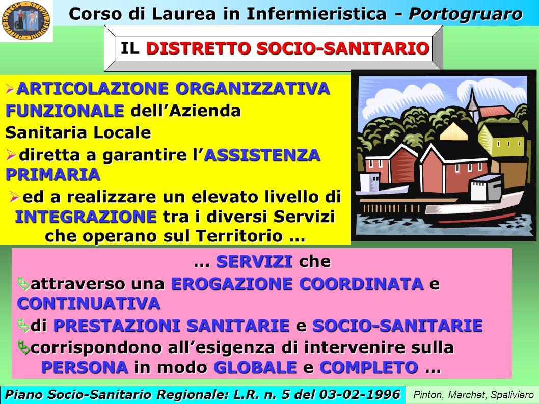 Corso di Laurea in Infermieristica - Portogruaro paliviero Pinton, Marchet, Spaliviero IL DISTRETTO SOCIO-SANITARIO Piano Socio-Sanitario Regionale: L