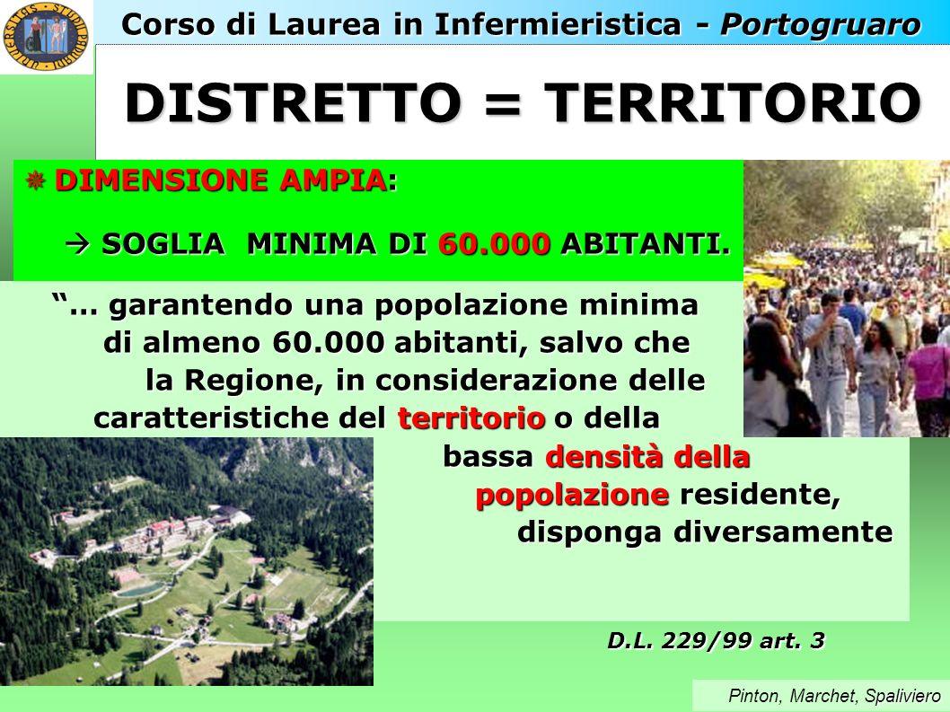 Corso di Laurea in Infermieristica - Portogruaro paliviero Pinton, Marchet, Spaliviero DISTRETTO = TERRITORIO DIMENSIONE AMPIA: SOGLIA MINIMA DI 60.000 ABITANTI.