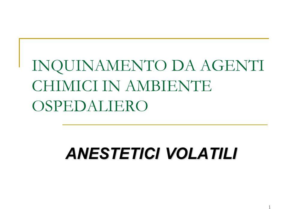 1 INQUINAMENTO DA AGENTI CHIMICI IN AMBIENTE OSPEDALIERO ANESTETICI VOLATILI