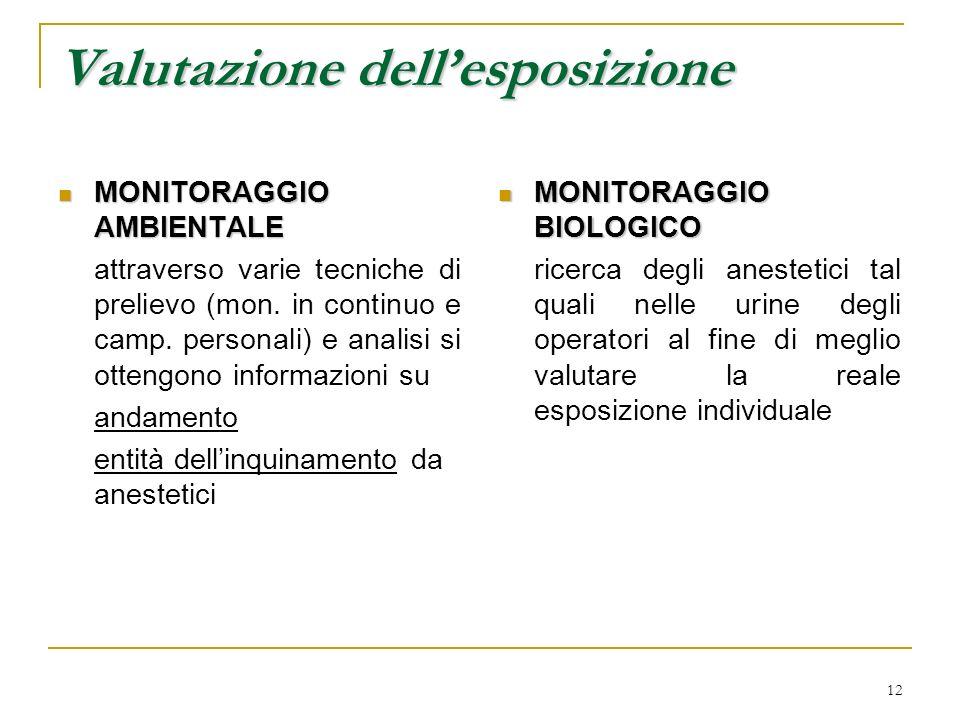 12 Valutazione dellesposizione MONITORAGGIO AMBIENTALE MONITORAGGIO AMBIENTALE attraverso varie tecniche di prelievo (mon. in continuo e camp. persona