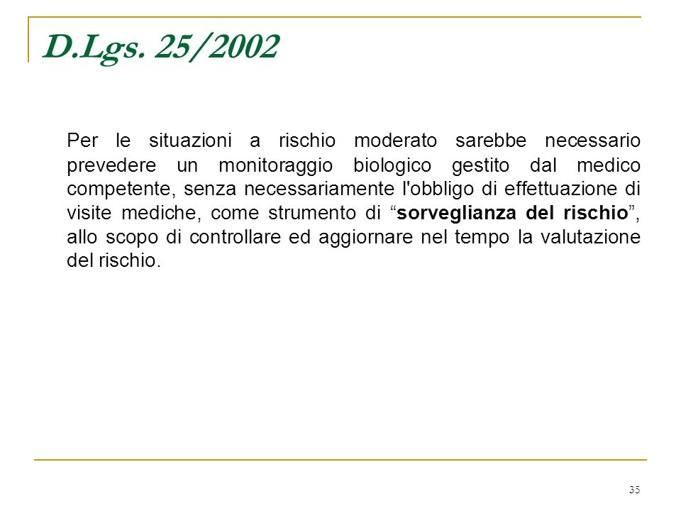 35 D.Lgs. 25/2002 Per le situazioni a rischio moderato sarebbe necessario prevedere un monitoraggio biologico gestito dal medico competente, senza nec