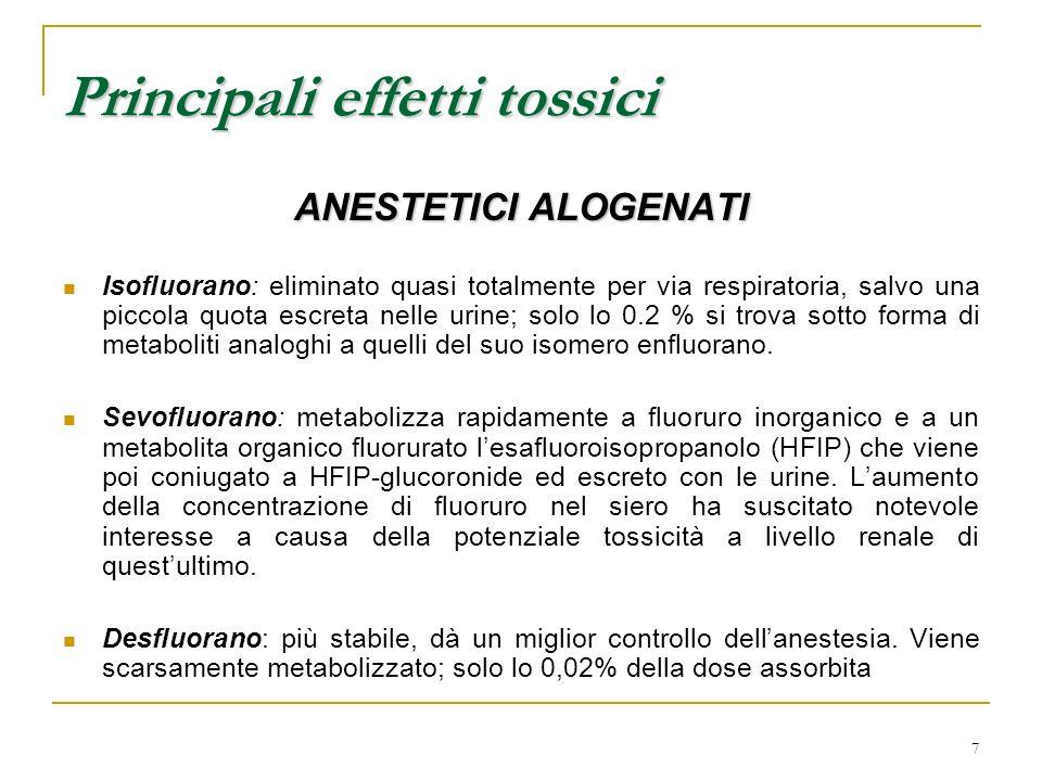 7 ANESTETICI ALOGENATI Isofluorano: eliminato quasi totalmente per via respiratoria, salvo una piccola quota escreta nelle urine; solo lo 0.2 % si tro