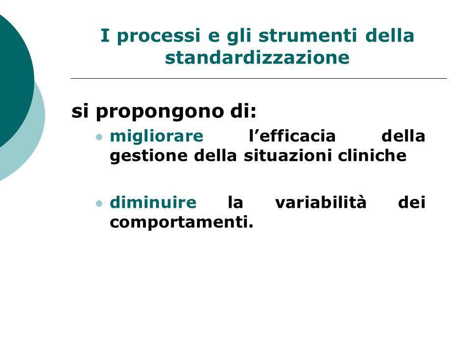 I processi e gli strumenti della standardizzazione si propongono di: migliorare lefficacia della gestione della situazioni cliniche diminuire la varia