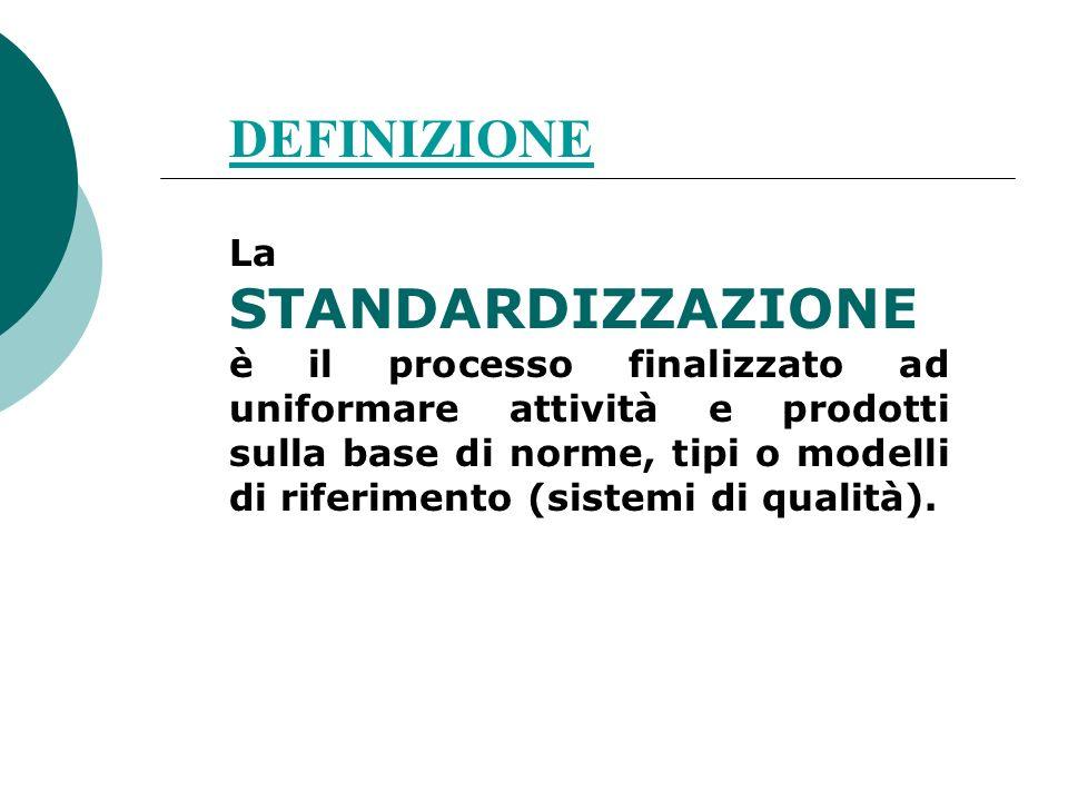 DEFINIZIONE La STANDARDIZZAZIONE è il processo finalizzato ad uniformare attività e prodotti sulla base di norme, tipi o modelli di riferimento (siste
