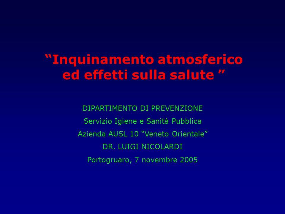 Inquinamento atmosferico ed effetti sulla salute DIPARTIMENTO DI PREVENZIONE Servizio Igiene e Sanità Pubblica Azienda AUSL 10 Veneto Orientale DR. LU