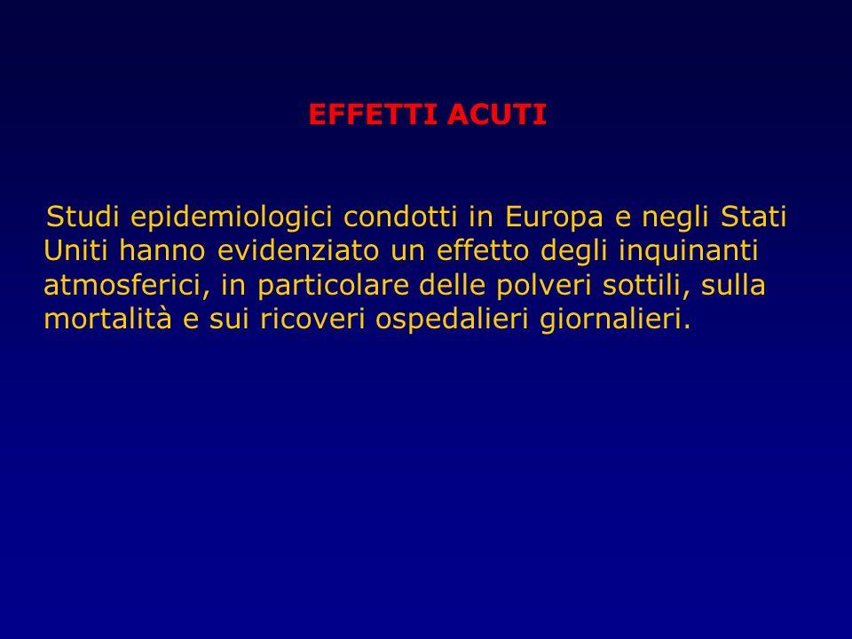 EFFETTI ACUTI Studi epidemiologici condotti in Europa e negli Stati Uniti hanno evidenziato un effetto degli inquinanti atmosferici, in particolare de