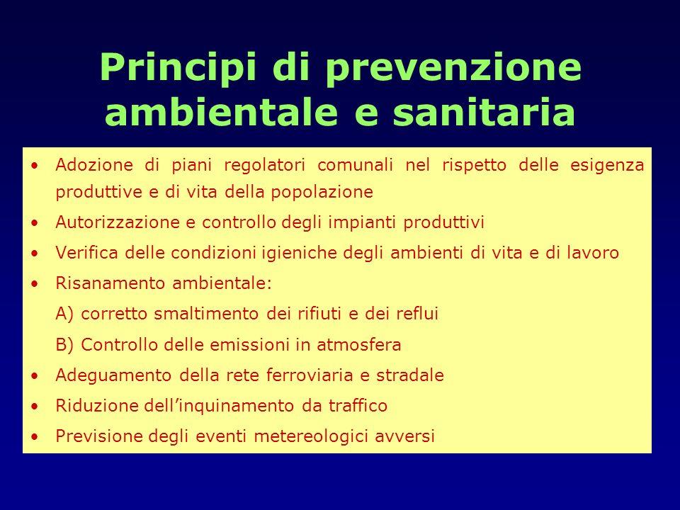 Principi di prevenzione ambientale e sanitaria Adozione di piani regolatori comunali nel rispetto delle esigenza produttive e di vita della popolazion