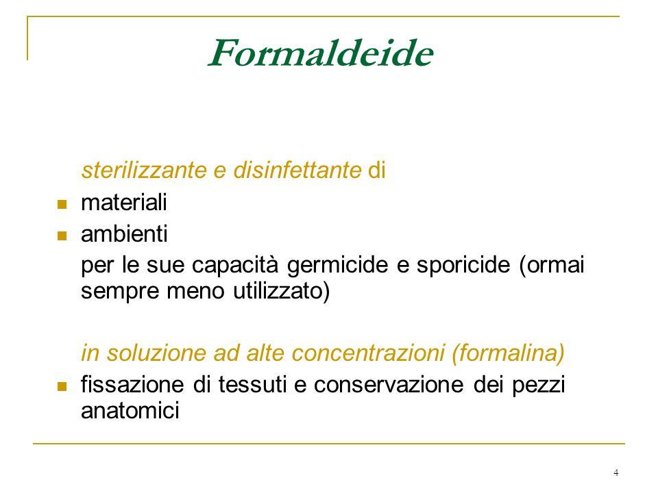 5 Effetti tossici della formaldeide Esposizione cronica Irritante di cute e mucose fortemente allergenica: asma allergico dermatiti mutagena e cancerogena: conferma su diverse specie animali; contrastanti i dati sulluomo La IARC classifica la formaldeide come gruppo 1 (sicuro cancerogeno umano dal giugno 2004) ACGIH: gruppo A2 (cancerogeno sospetto per luomo) TLV-C: 0.3 ppm (0.37 mg/m 3 )