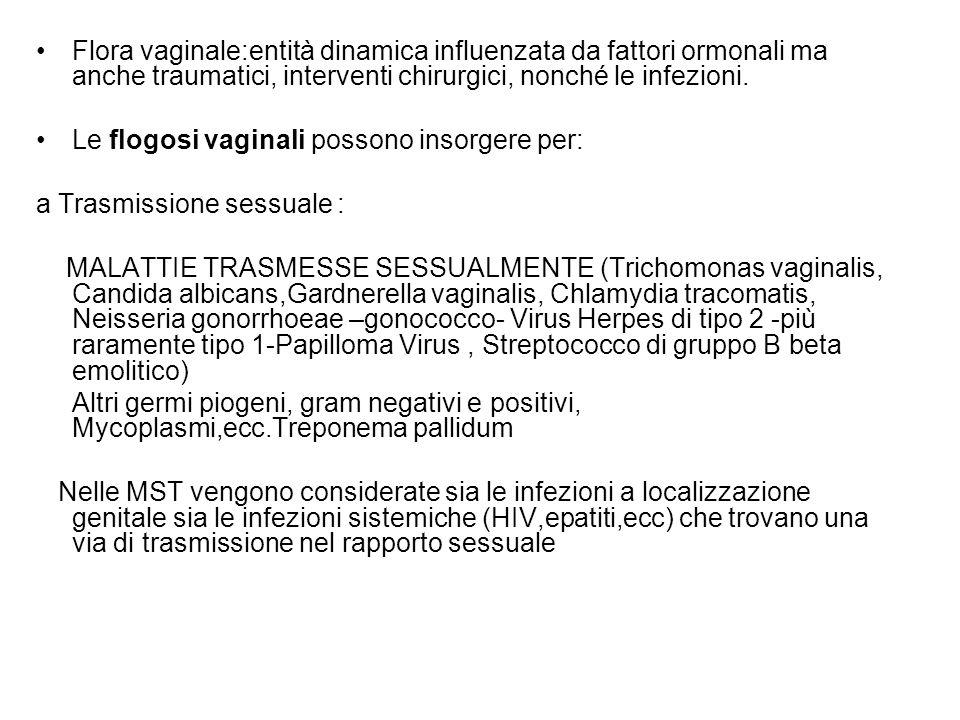 Flora vaginale:entità dinamica influenzata da fattori ormonali ma anche traumatici, interventi chirurgici, nonché le infezioni. Le flogosi vaginali po