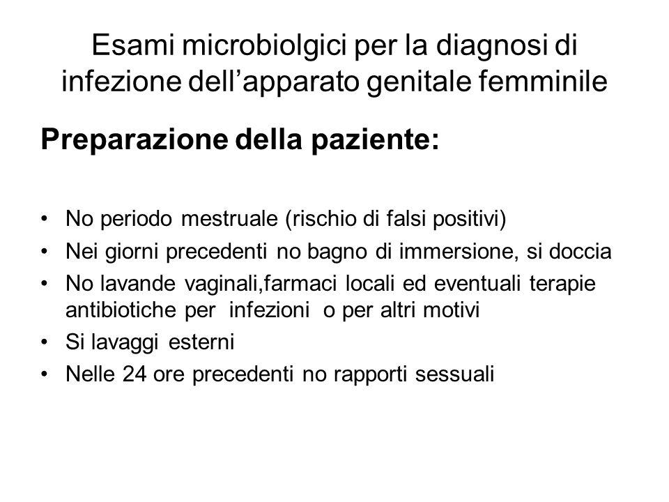 Esami microbiolgici per la diagnosi di infezione dellapparato genitale femminile Preparazione della paziente: No periodo mestruale (rischio di falsi p