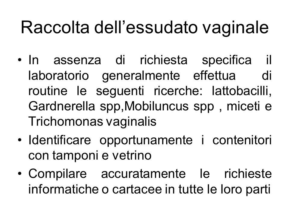 Raccolta dellessudato vaginale In assenza di richiesta specifica il laboratorio generalmente effettua di routine le seguenti ricerche: lattobacilli, G