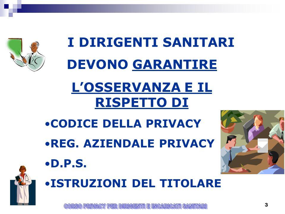 3 I DIRIGENTI SANITARI DEVONO GARANTIRE LOSSERVANZA E IL RISPETTO DI CODICE DELLA PRIVACY REG.