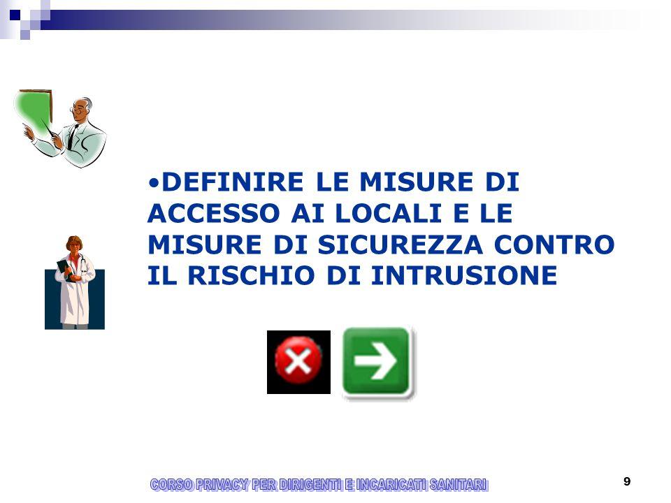 9 DEFINIRE LE MISURE DI ACCESSO AI LOCALI E LE MISURE DI SICUREZZA CONTRO IL RISCHIO DI INTRUSIONE