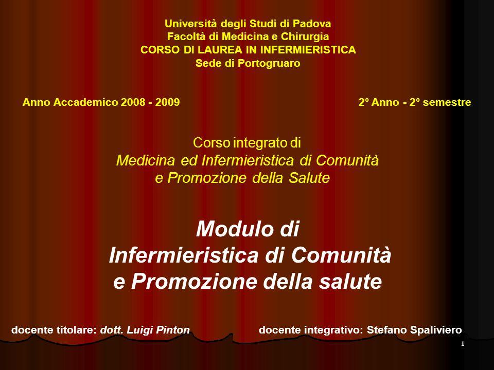 1 Corso integrato di Medicina ed Infermieristica di Comunità e Promozione della Salute Modulo di Infermieristica di Comunità e Promozione della salute