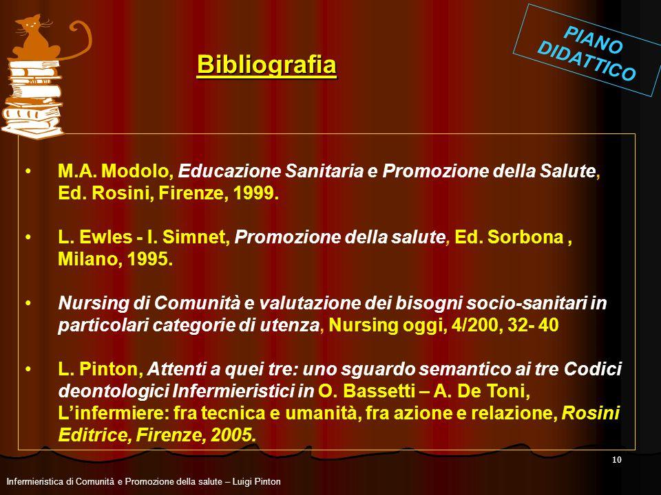 10 M.A. Modolo, Educazione Sanitaria e Promozione della Salute, Ed. Rosini, Firenze, 1999. L. Ewles - I. Simnet, Promozione della salute, Ed. Sorbona,