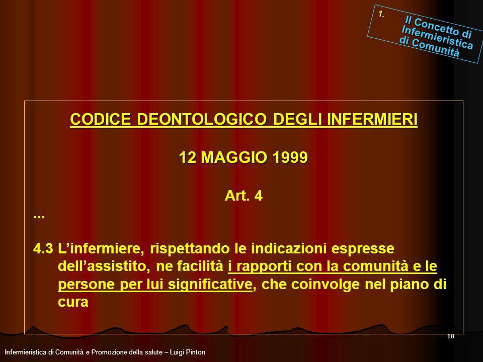 18 CODICE DEONTOLOGICO DEGLI INFERMIERI 12 MAGGIO 1999 Art. 4... 4.3 Linfermiere, rispettando le indicazioni espresse dellassistito, ne facilità i rap