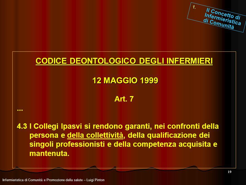 19 CODICE DEONTOLOGICO DEGLI INFERMIERI 12 MAGGIO 1999 12 MAGGIO 1999 Art. 7... 4.3 I Collegi Ipasvi si rendono garanti, nei confronti della persona e