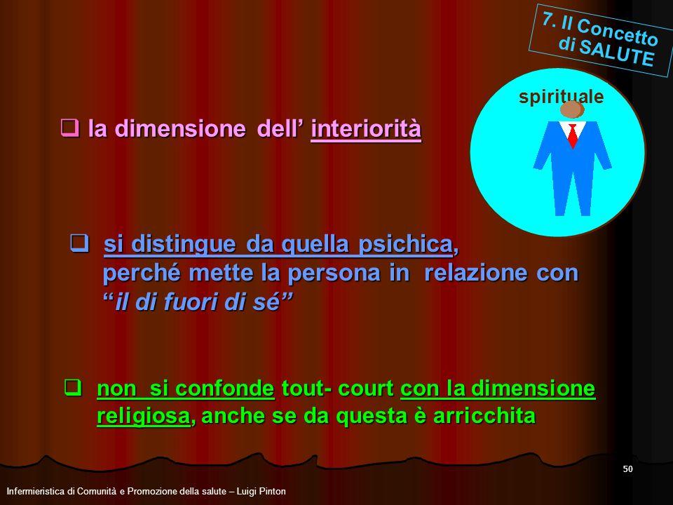 50 la dimensione dell interiorità la dimensione dell interiorità si distingue da quella psichica, si distingue da quella psichica, perché mette la per