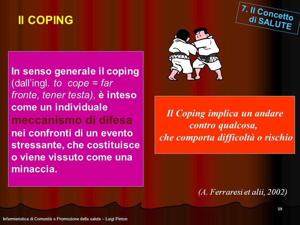 59 Il COPING In senso generale il coping (dallingl. to cope = far fronte, tener testa), è inteso come un individuale meccanismo di difesa nei confront