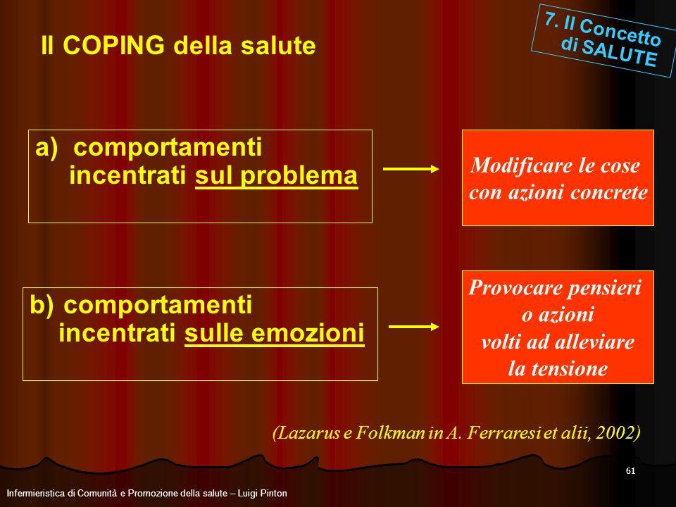 61 Il COPING della salute a) comportamenti incentrati sul problema b)comportamenti incentrati sulle emozioni Modificare le cose con azioni concrete Pr