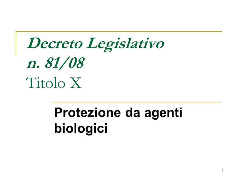 1 Decreto Legislativo n. 81/08 Titolo X Protezione da agenti biologici