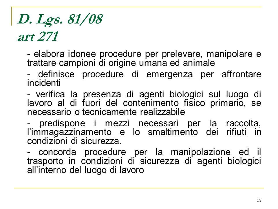 18 D. Lgs. 81/08 art 271 - elabora idonee procedure per prelevare, manipolare e trattare campioni di origine umana ed animale - definisce procedure di