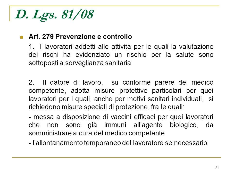 21 D. Lgs. 81/08 Art. 279 Prevenzione e controllo 1. I lavoratori addetti alle attività per le quali la valutazione dei rischi ha evidenziato un risch