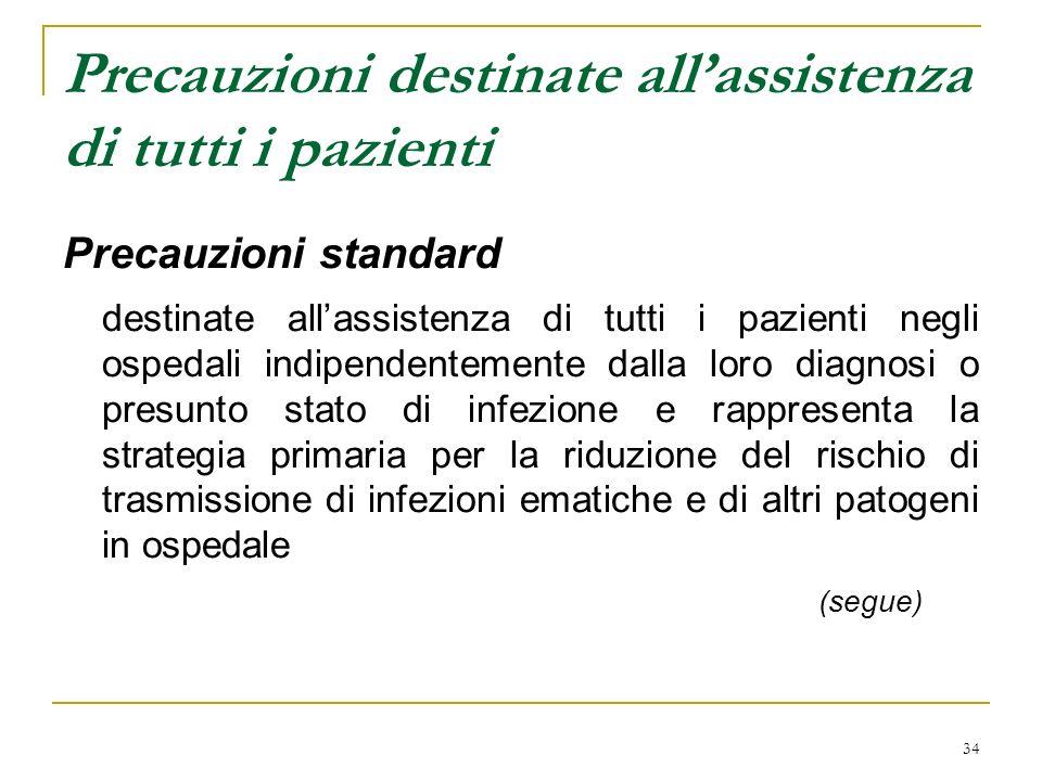 34 Precauzioni destinate allassistenza di tutti i pazienti Precauzioni standard destinate allassistenza di tutti i pazienti negli ospedali indipendent