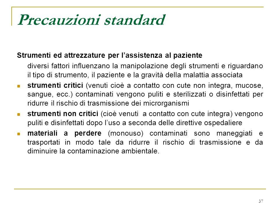 37 Precauzioni standard Strumenti ed attrezzature per lassistenza al paziente diversi fattori influenzano la manipolazione degli strumenti e riguardan