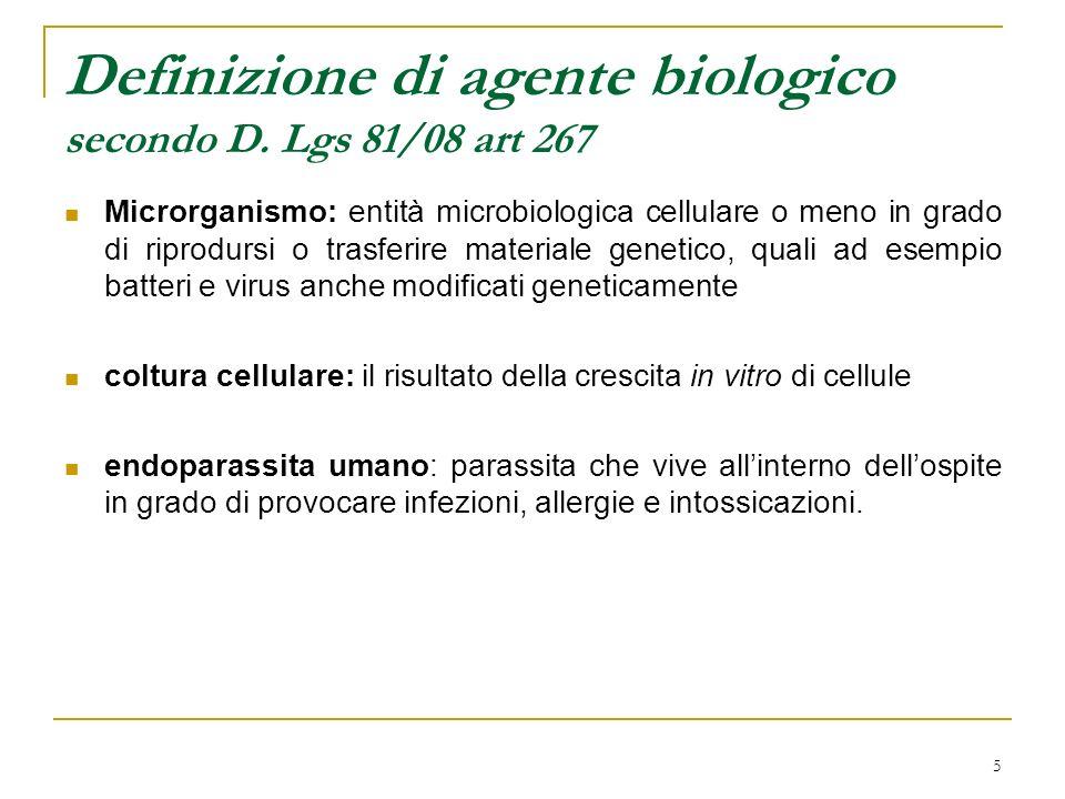5 Definizione di agente biologico secondo D. Lgs 81/08 art 267 Microrganismo: entità microbiologica cellulare o meno in grado di riprodursi o trasferi