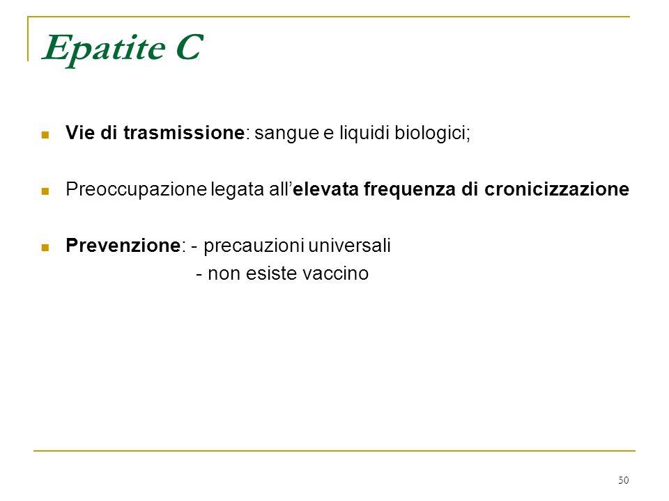 50 Epatite C Vie di trasmissione: sangue e liquidi biologici; Preoccupazione legata allelevata frequenza di cronicizzazione Prevenzione: - precauzioni