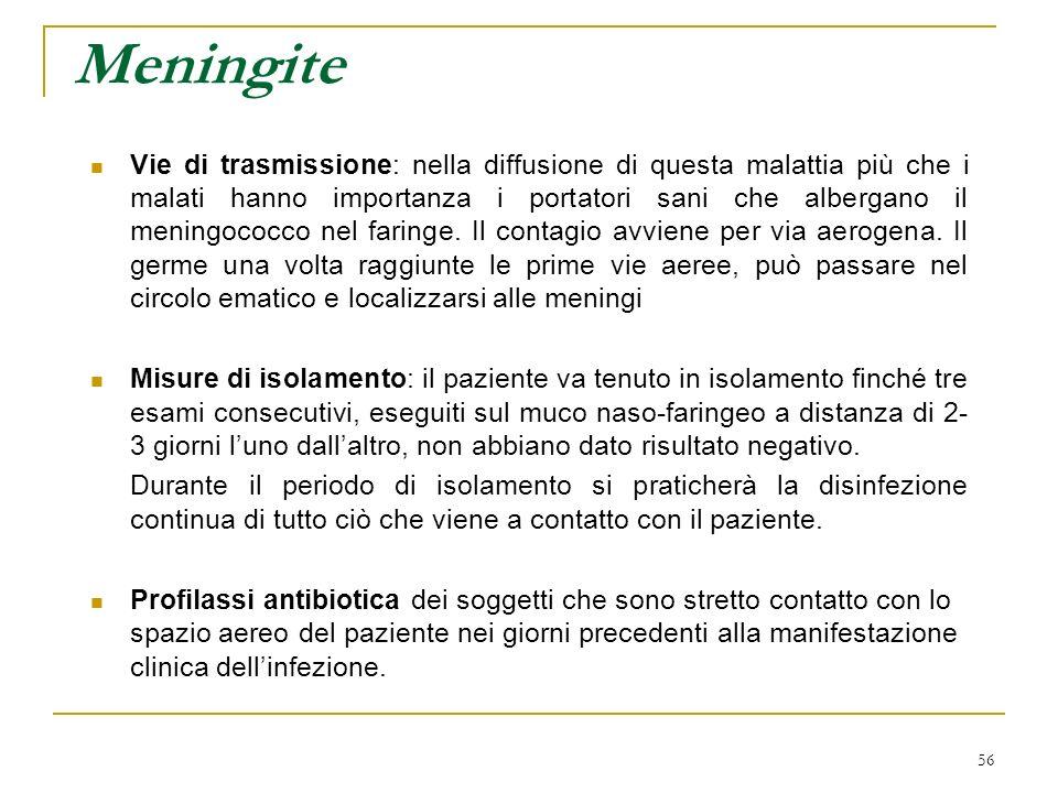 56 Meningite Vie di trasmissione: nella diffusione di questa malattia più che i malati hanno importanza i portatori sani che albergano il meningococco